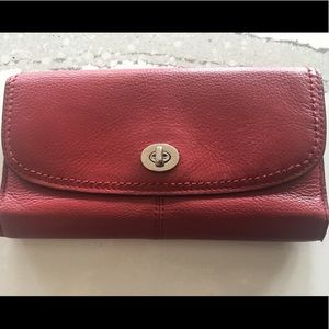 """""""Coach"""" red leather wallet- PLEASE NOTE-  NO LOGO"""